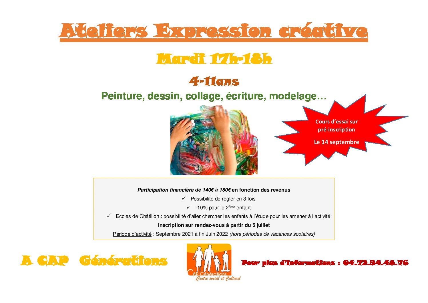 Nouvelle saison d'ateliers Expression Créative