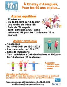 Ateliers pour les séniors à CHAZAY !