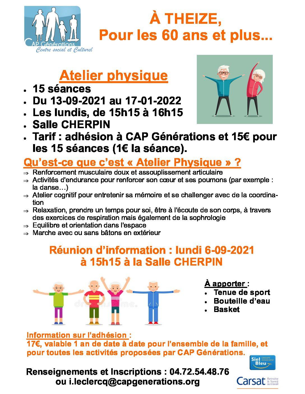 Ateliers physique pour les 60 ans et plus !